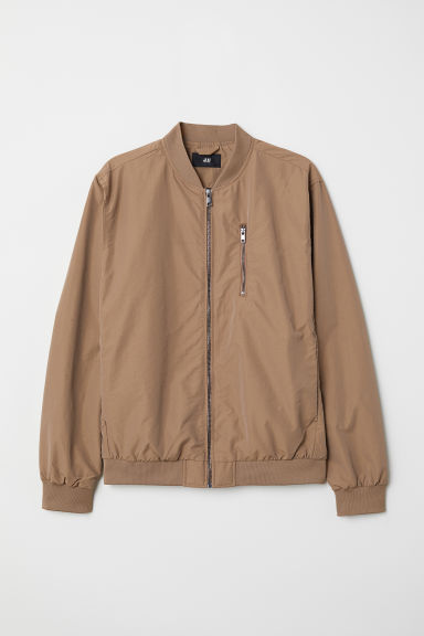 Nylon-blend Bomber Jacket - Dark beige - Men | H&M US