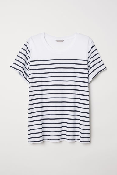 H&M+ Jersey top - White/Dark blue striped - Ladies | H&M