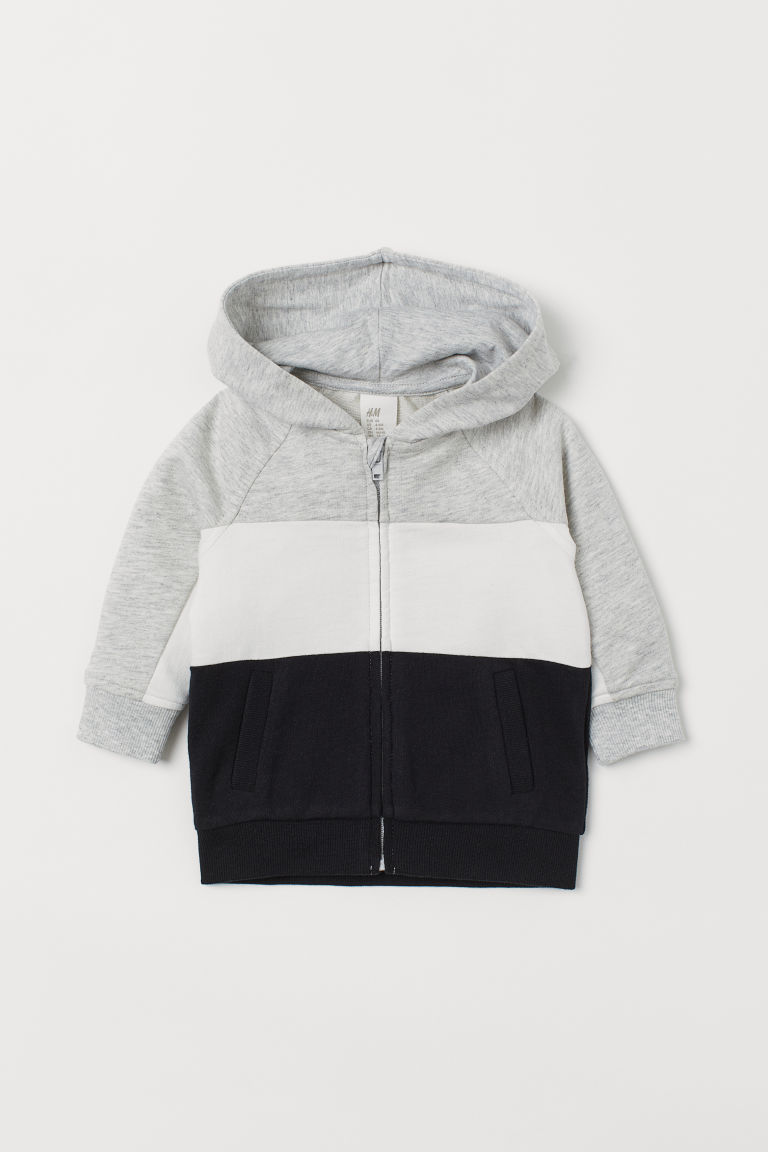 Hooded jacket - Light grey marl/Block-coloured - Kids | H&M CN
