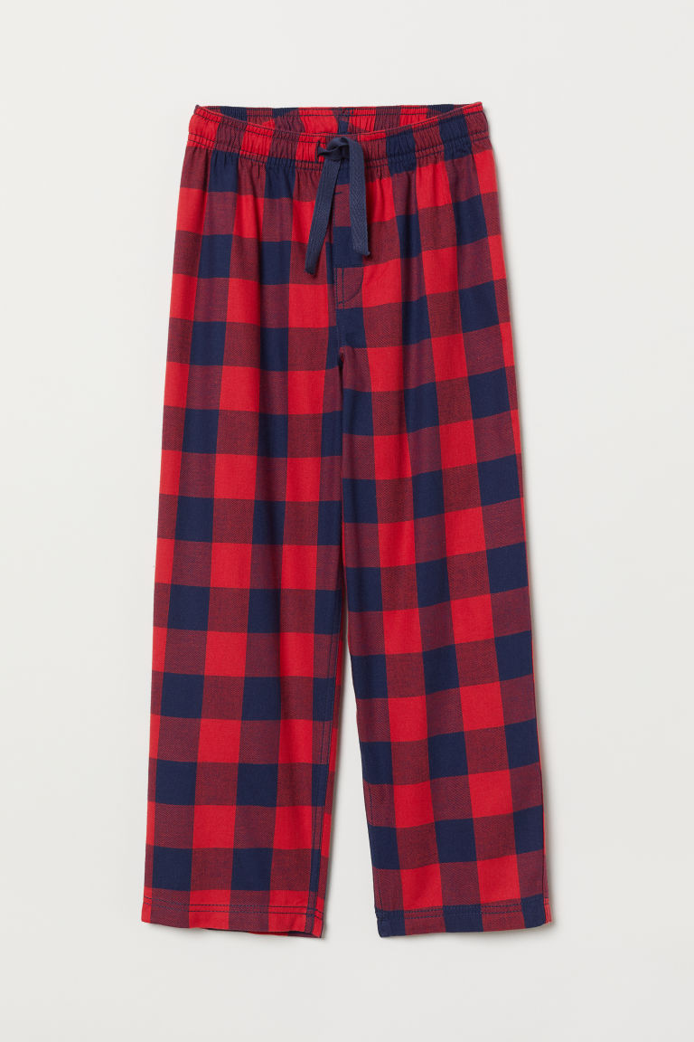 Flannel pyjama bottoms - Red/Blue checked - Kids | H&M CN