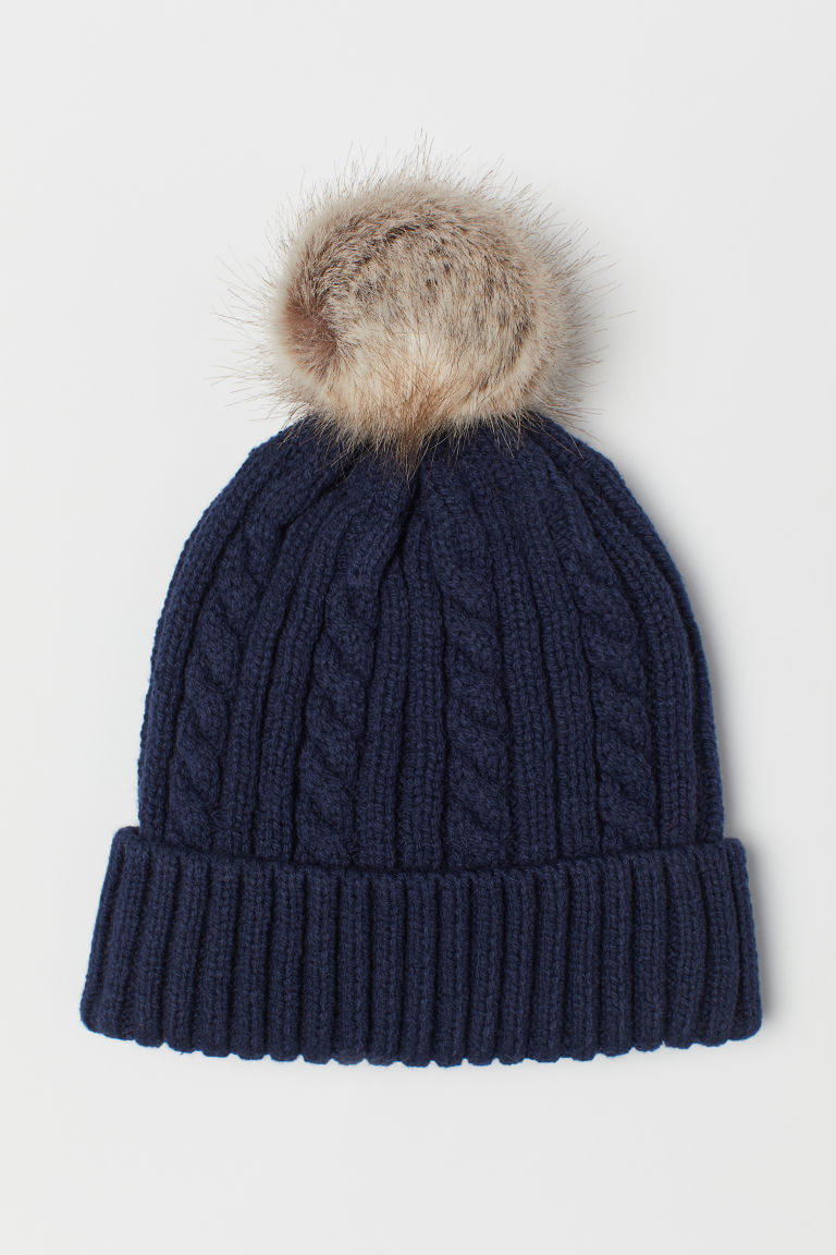 Cable-knit hat - Dark blue - Kids | H&M CN