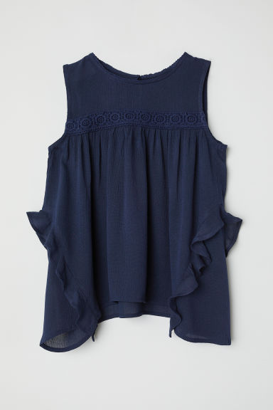 Crinkled blouse - Dark blue - Kids | H&M