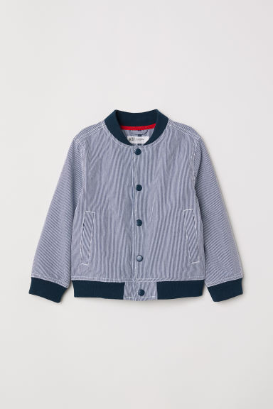 Chambray baseball jacket - Dark blue/White striped - Kids | H&M
