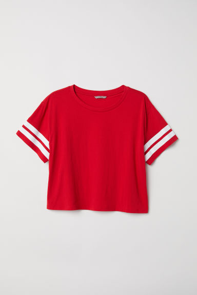 H&M+ Short T-shirt - Red - Ladies | H&M CN