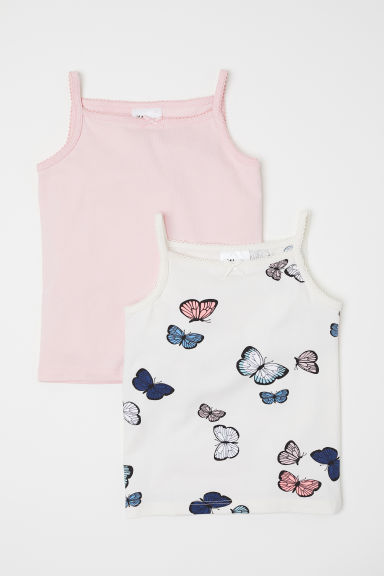2-pack vest tops - Pink/White butterflies -  | H&M