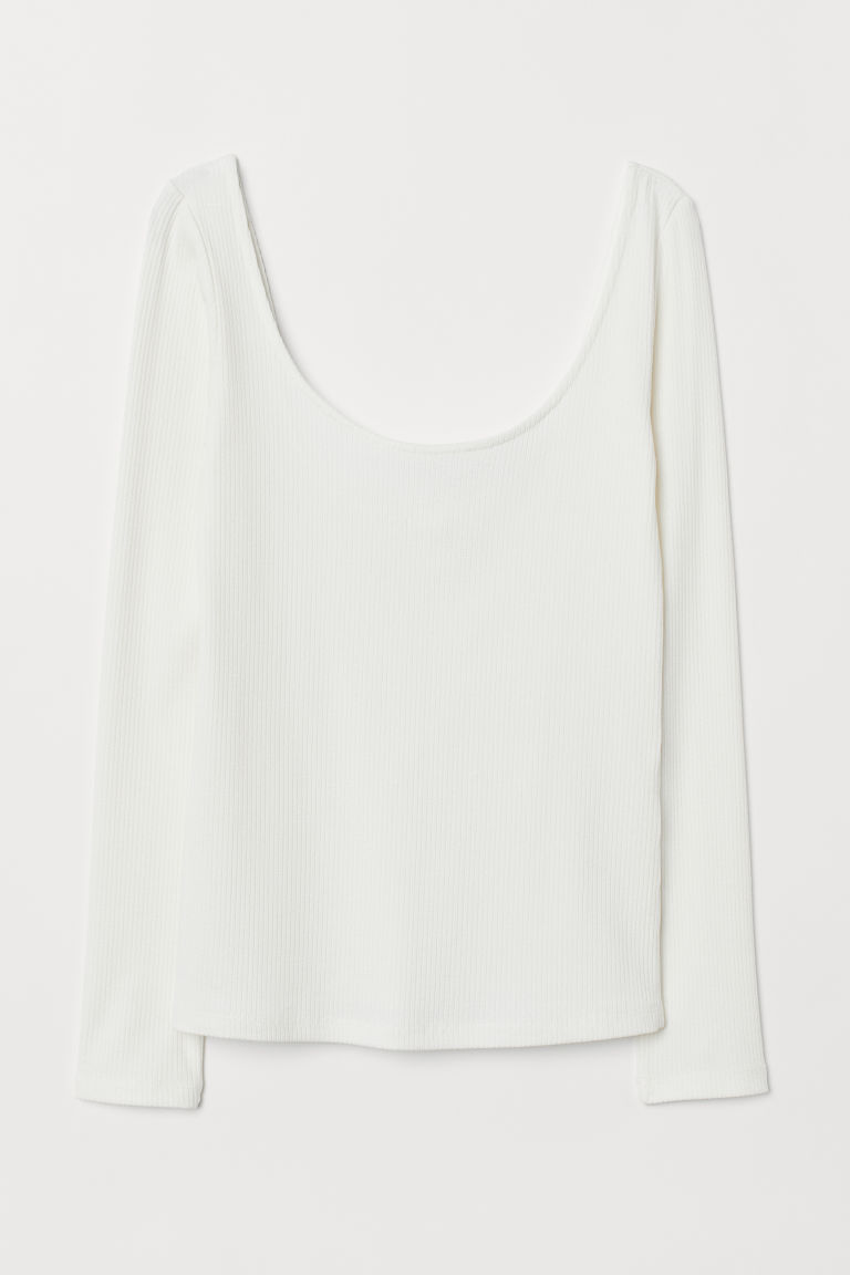 Ribbed jersey top - Cream - Ladies | H&M
