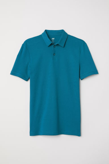 Cotton polo shirt - Dark turquoise - Men | H&M IN