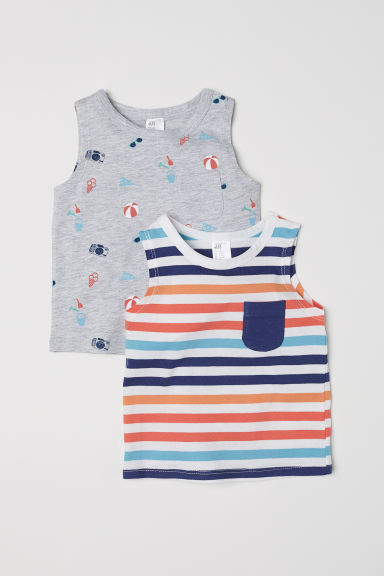 2-pack vest tops - Light grey/Patterned - Kids | H&M