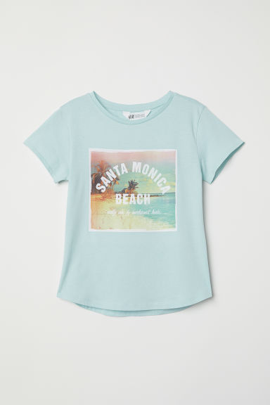 Generous fit printed T-shirt - Light turquoise/Santa Monica - Kids | H&M