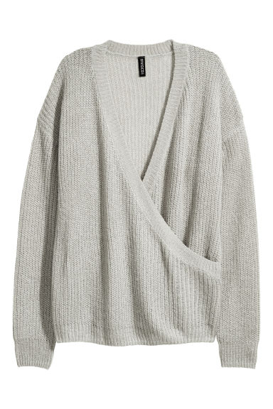 Knitted wrapover jumper - Light grey - Ladies | H&M CN