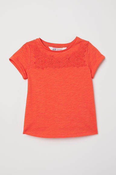 T-shirt with a motif - Orange/Flowers - Kids | H&M