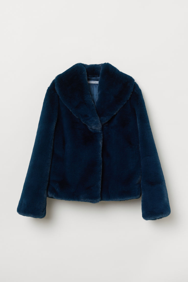 Faux Fur Jacket - Teal - Ladies | H&M US