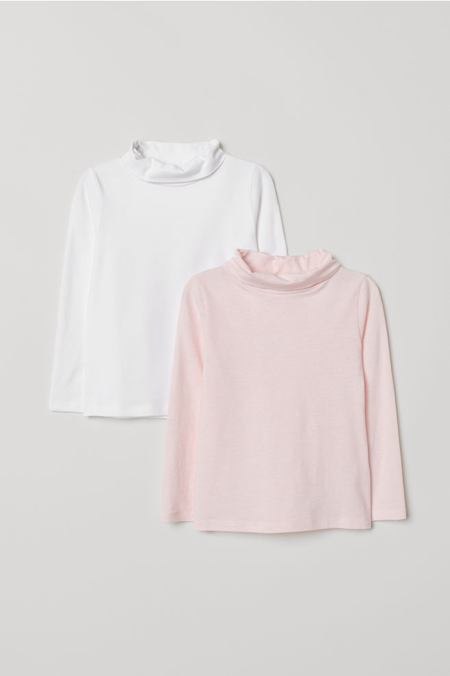 20a83a801f622 2-pack polo-neck tops - Light pink White - Kids