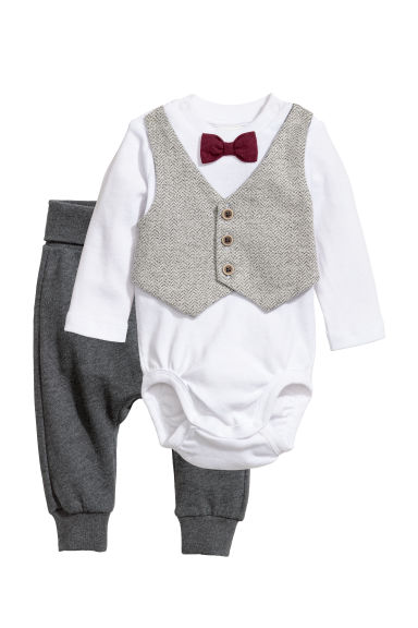 Bodysuit and trousers - White/Dark grey - Kids | H&M GB