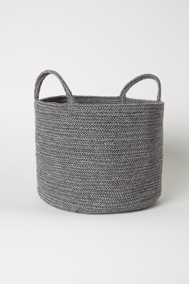 Cotton storage basket - Dark grey marl - Home All | H&M CN