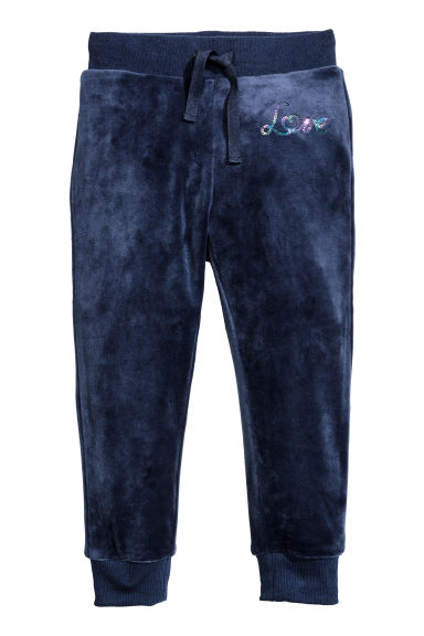 Velours joggers - Donkerblauw - KINDEREN | H&M BE