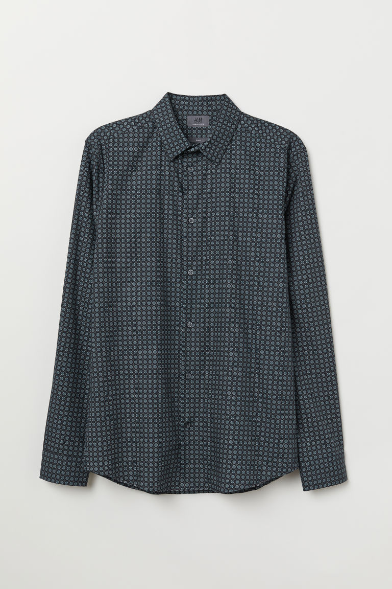 Premium cotton shirt - Black/Blue patterned - Men | H&M