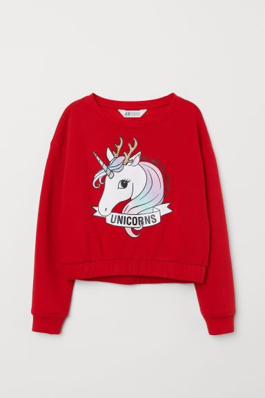 Printed sweatshirt - Red/Unicorn - Kids | H&M