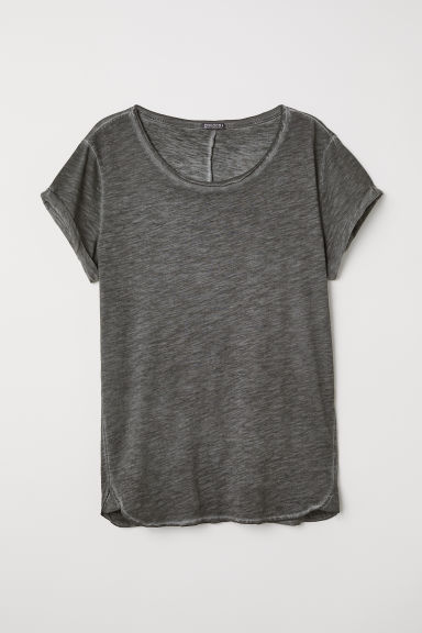 Tricot T-shirt - Donkergrijs/washed - HEREN | H&M BE