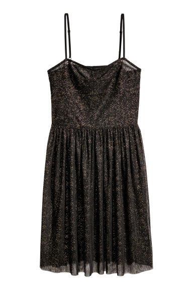 Glittery mesh dress - Black/Glittery - Ladies | H&M