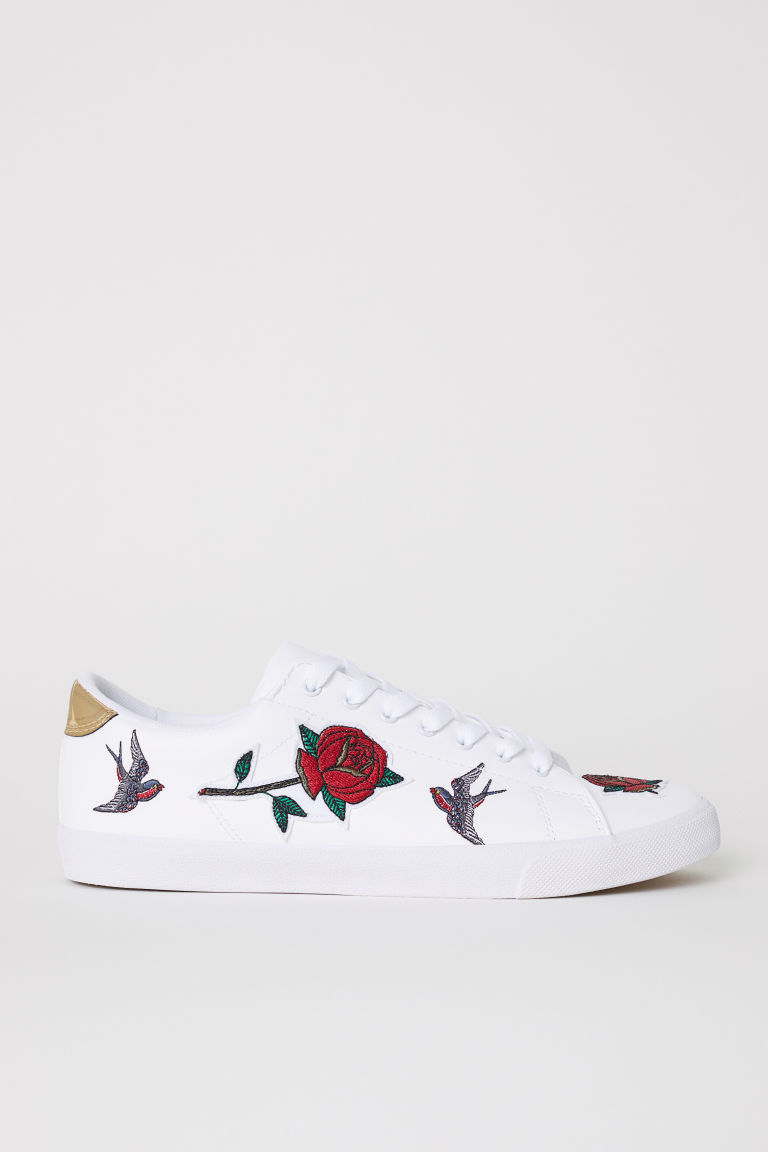 Trainers with embroidery - White - Men | H&M