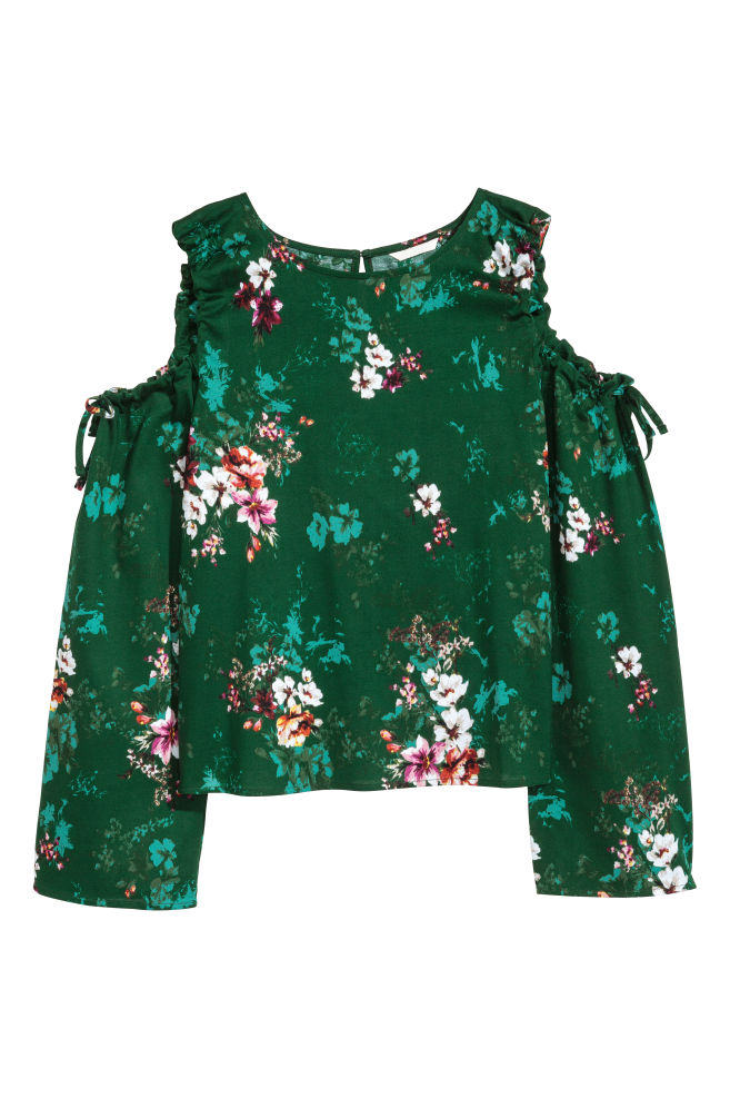cf131c666772c9 Cold shoulder top - Dark green Floral - Ladies