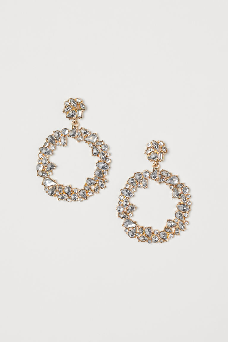 Rhinestone Hoop Earrings - Gold-colored - Ladies | H&M CA