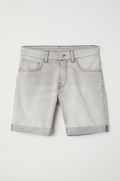 Skinny denim shorts - Light grey -  | H&M