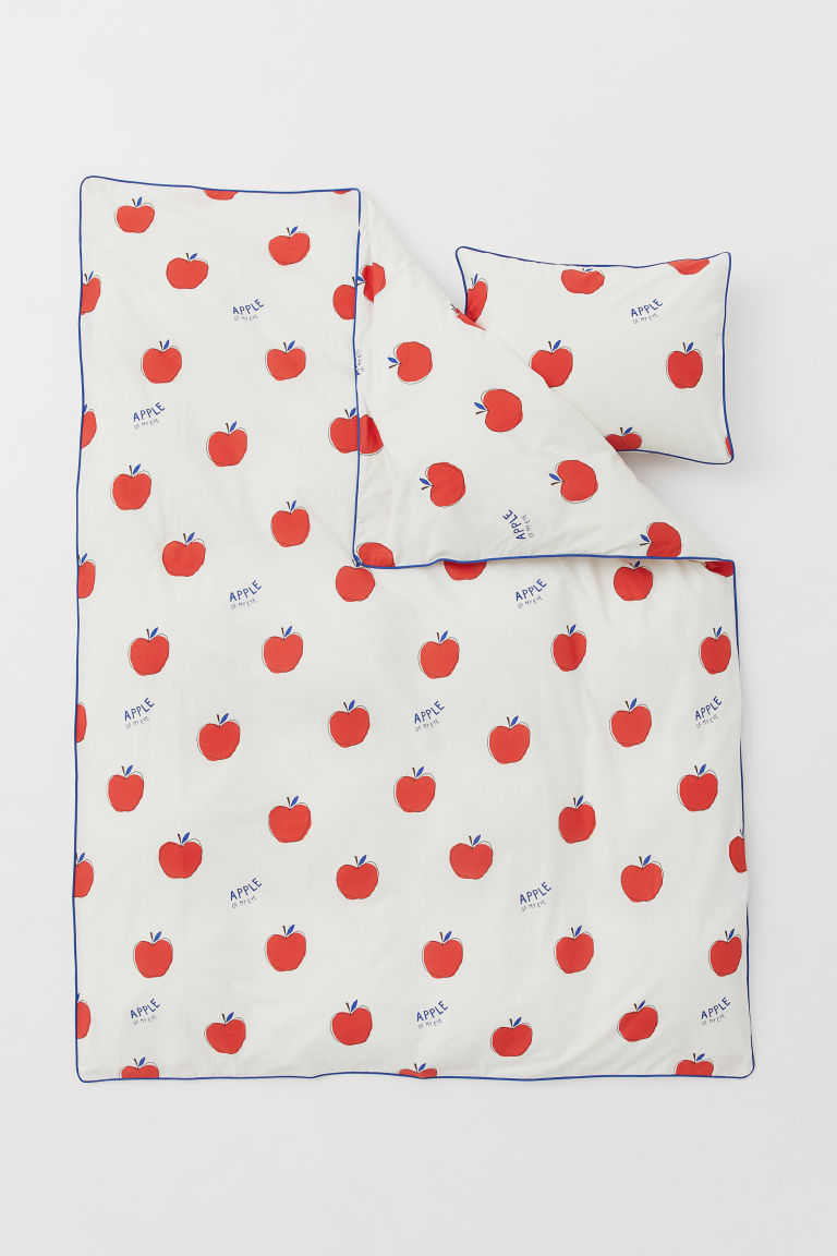 Patterned duvet cover set - Natural white/Apples - Home All | H&M GB