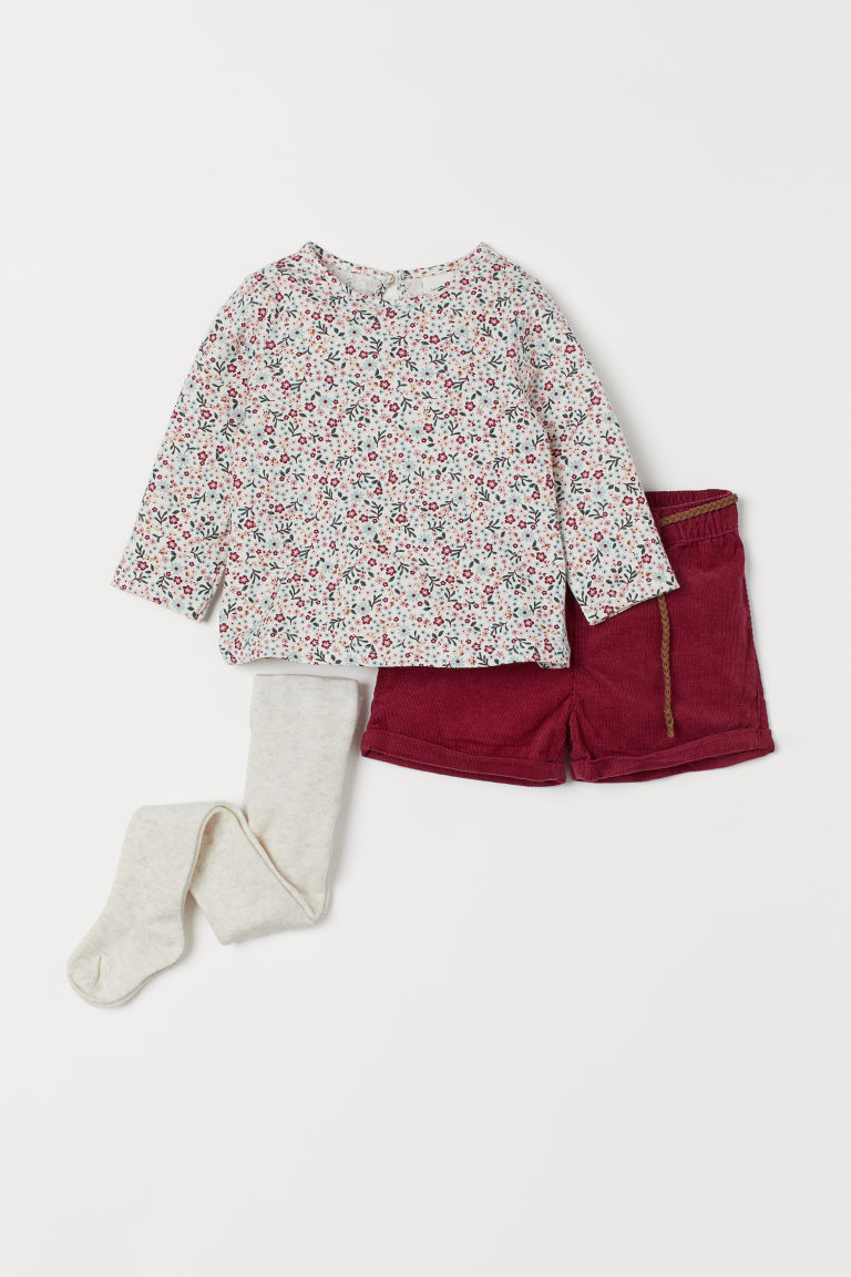3-piece set - Dark red/Floral -  | H&M
