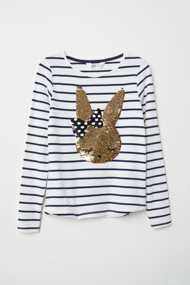 Jersey top with sequined motif - White striped/Rabbit -  | H&M CN