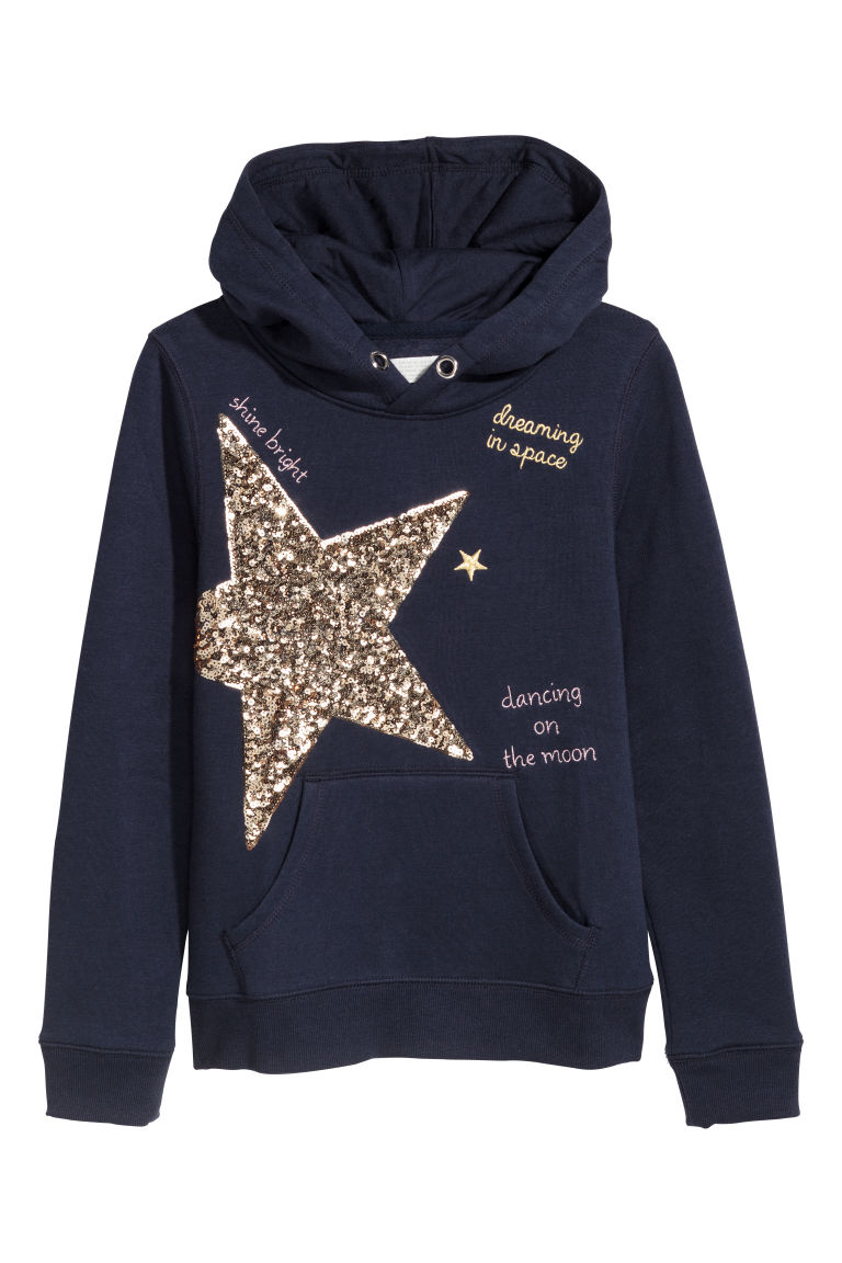 Hooded top with a motif - Dark blue - Kids | H&M