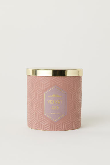 Scented candle in holder - Dusky Pink/Velvet Fig - Home All | H&M GB