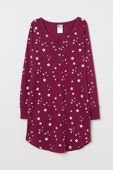 Jersey nightdress - Burgundy/Stars - Ladies | H&M CN