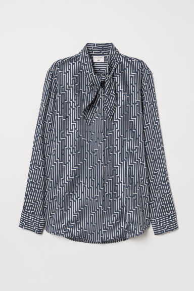 Patterned tie-detail blouse - Petrol/White patterned - Ladies | H&M