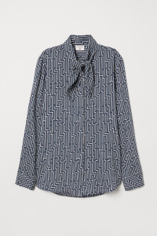 Patterned tie-detail blouse