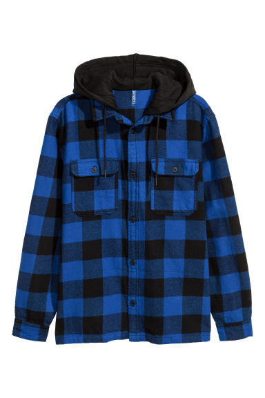Hooded flannel shirt - Bright blue/Black checked - Men | H&M IE