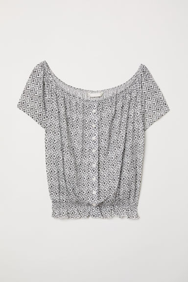 Short jersey top - White/Black patterned - Ladies | H&M