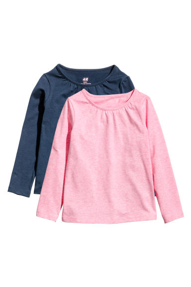 Top in jersey, 2 pz - Rosa mélange/blu scuro - BAMBINO | H&M IT
