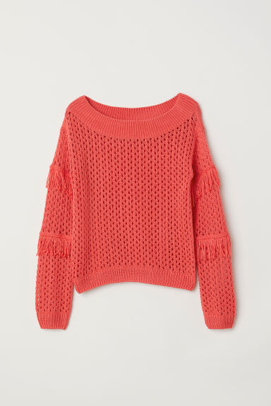 Knitted jumper with fringing - Bright red - Kids | H&M