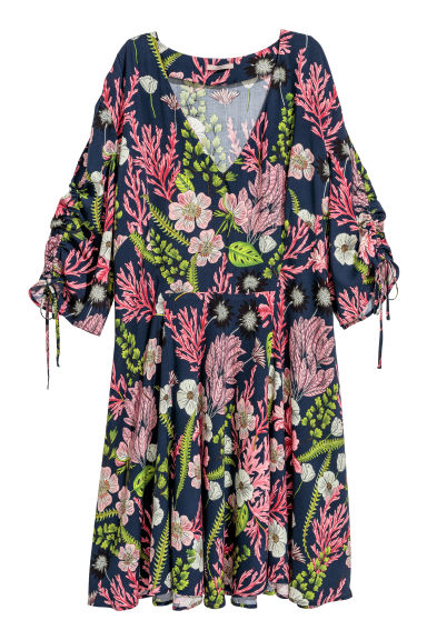 H&M+ Patterned dress - Dark blue/Floral - Ladies | H&M CN