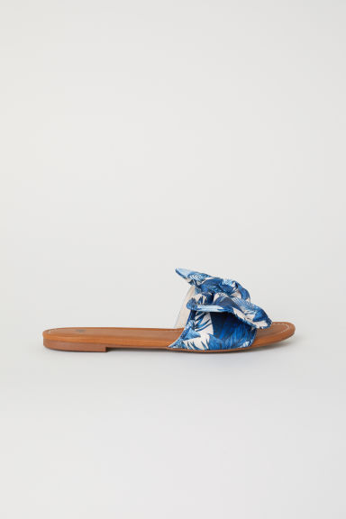 Slides with a bow - White/Blue patterned - Ladies | H&M