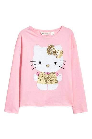 Top with reversible sequins - Pink/Hello Kitty - Kids | H&M CN