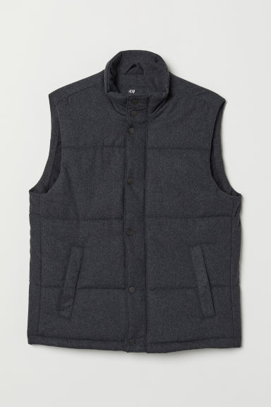Wool-blend padded gilet - Dark grey marl - Men | H&M