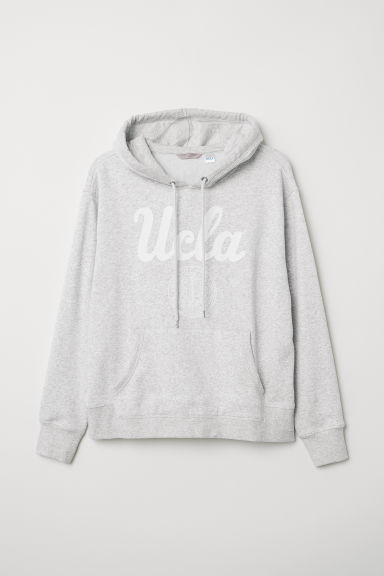 H&M+ Printed hooded top - Light grey marl/UCLA - Ladies | H&M CN