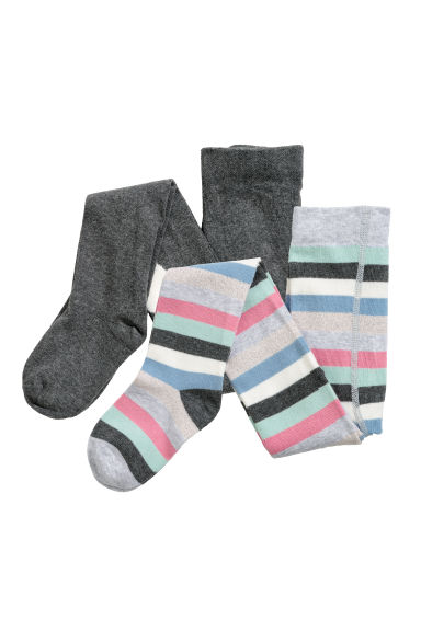 2-pack fine-knit tights - Grey marl/Striped - Kids | H&M