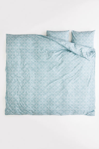 Patterned duvet cover set - Turquoise/White patterned - Home All | H&M GB