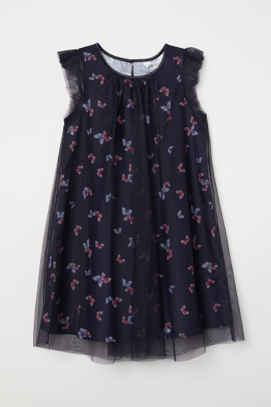 Glittery tulle dress - Dark blue/Butterflies - Kids | H&M