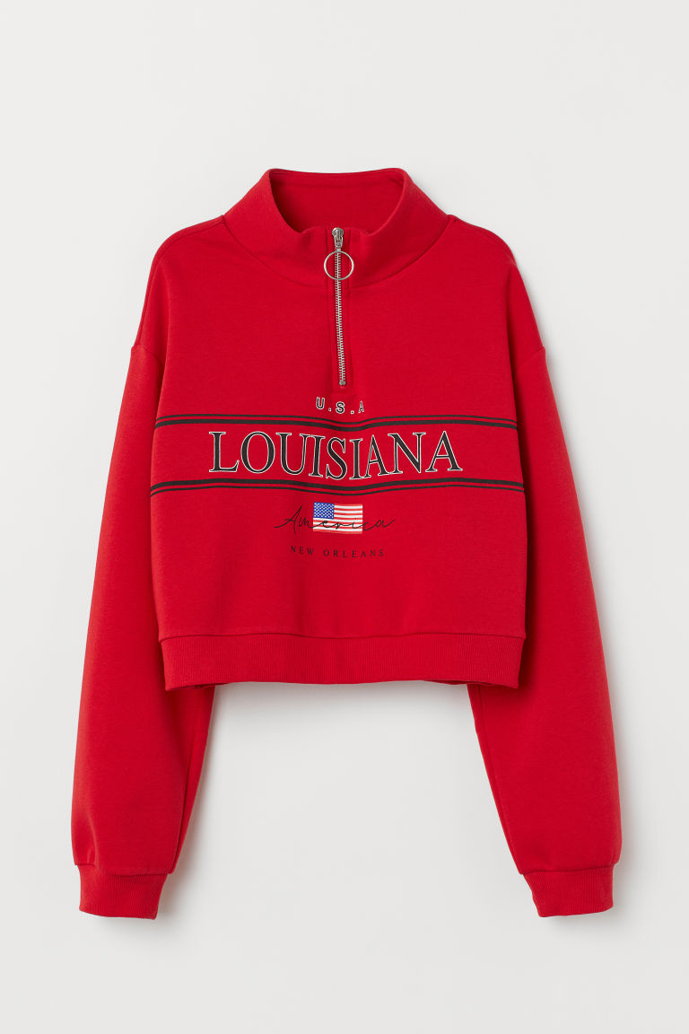 Stand-up collar sweatshirt - Red/Louisiana -  | H&M IE