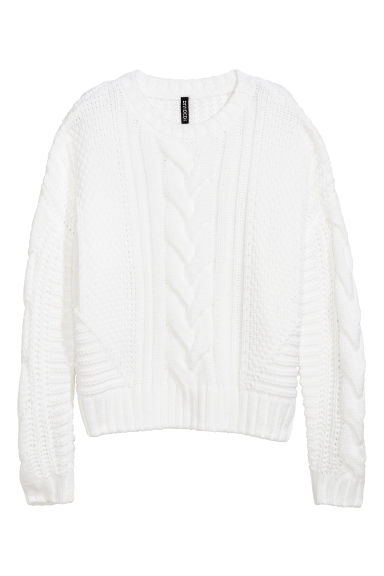 Cable-knit jumper - White -  | H&M CN